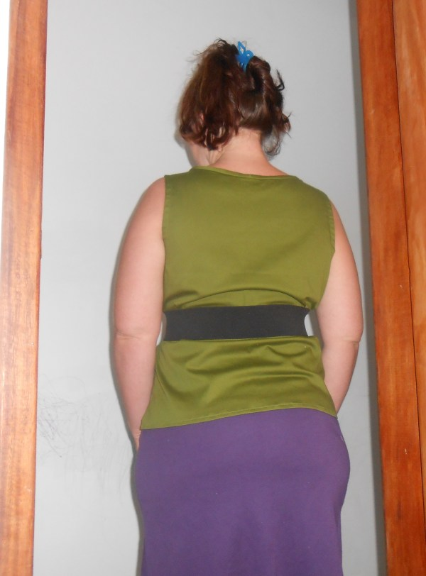 green and purple outfit back