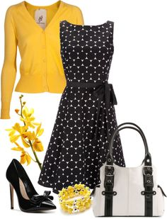 yellow cardi with black geo dress